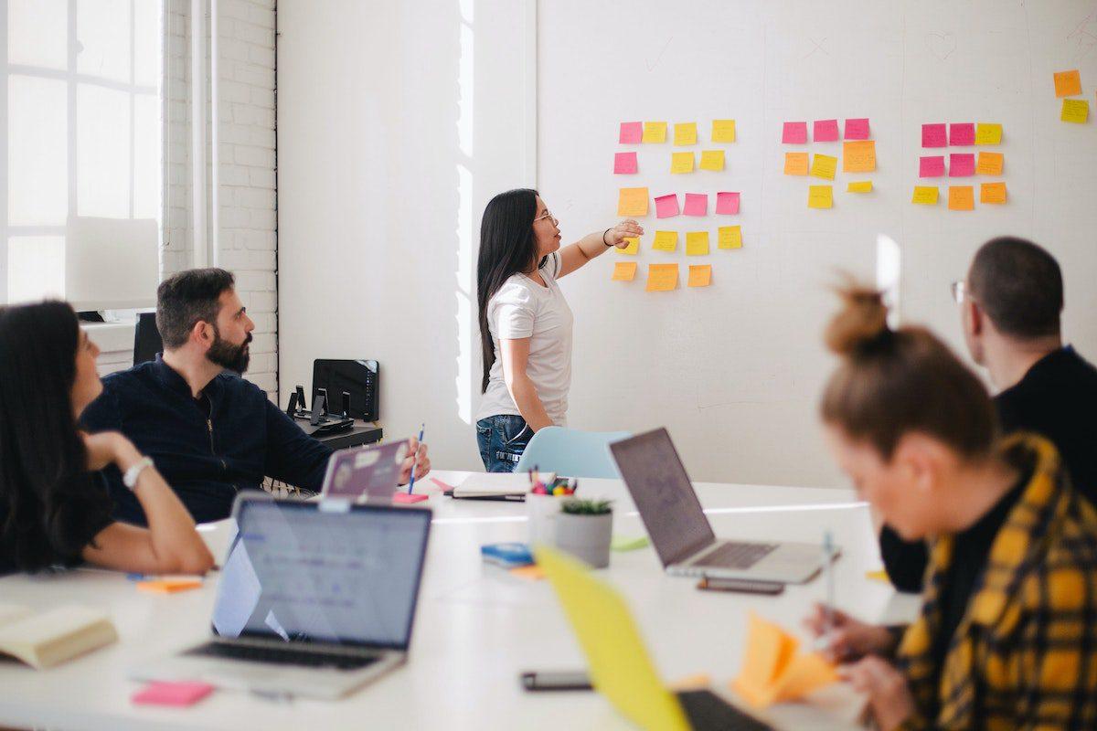 team talking marketing strategy for app