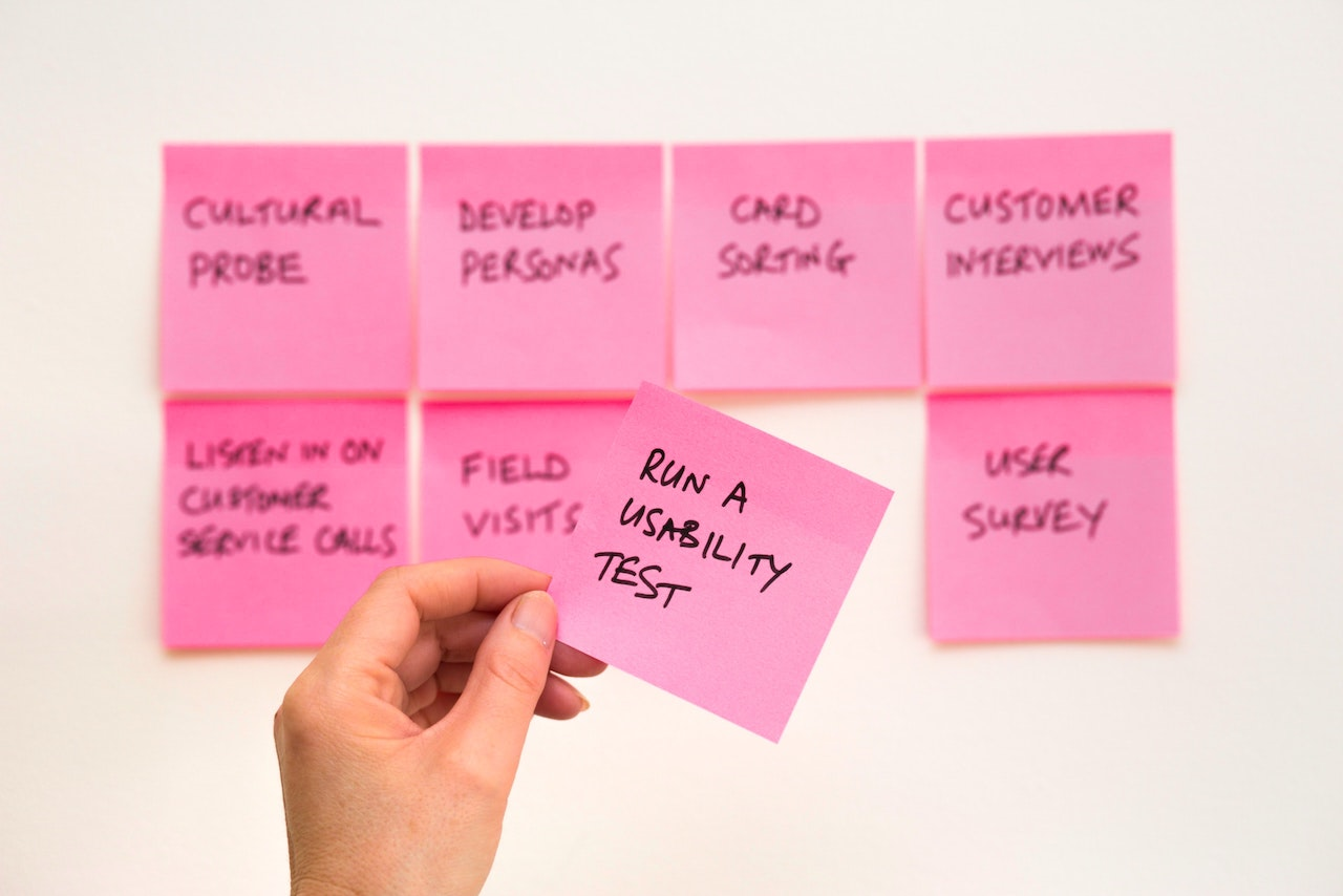 planning usability testing with sticky notes